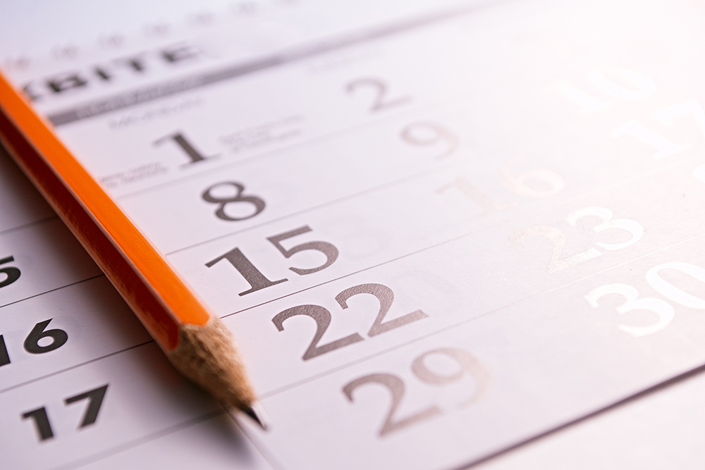 Pencil on a calendar marking the time that has passed since home inspection services were provided